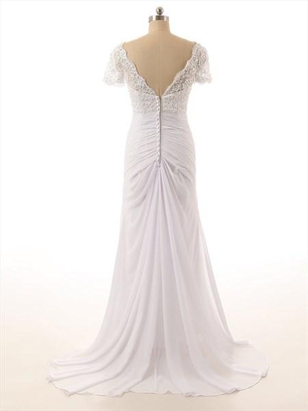 Lace Bodice V-Neckline Short Sleeves Wedding Dress With Chiffon Skirt