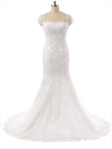 White Lace Applique Cap Sleeve Mermaid Wedding Dress With Keyhole Back