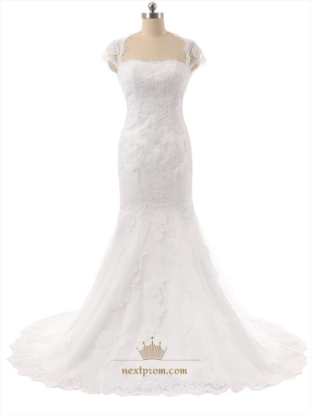 White Lace Applique Cap Sleeve Mermaid Wedding Dress With Keyhole Back
