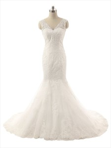 Ivory Lace Applique Mermaid V-Neckline Wedding Dress With Sheer Straps