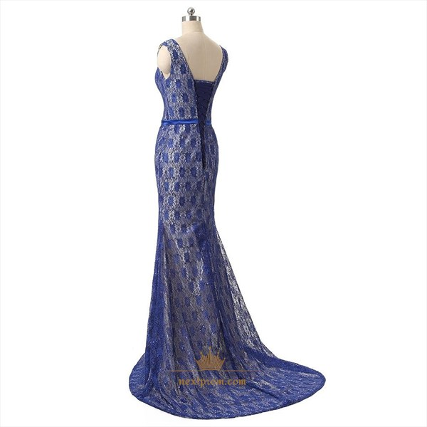 Blue Lace Applique Overlay Mermaid V-Neck Floor Length Prom Dress With Sash
