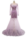 Lavender Sheer Lace Qpplique Overlay Long Sleeve Wedding Dress