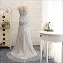 Gorgeous Grey Tulle Floor-Length Sheer Back Prom Dresses With Floral Applique