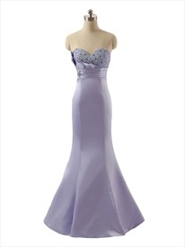 Exquisite Lavender Strapless Satin Beaded Sweetheart Mermaid Prom Dress