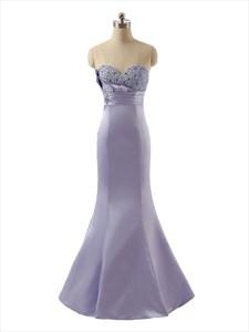 Exquisite Lavender Strapless Satin Beaded Sweetheart Mermaid Prom Dress