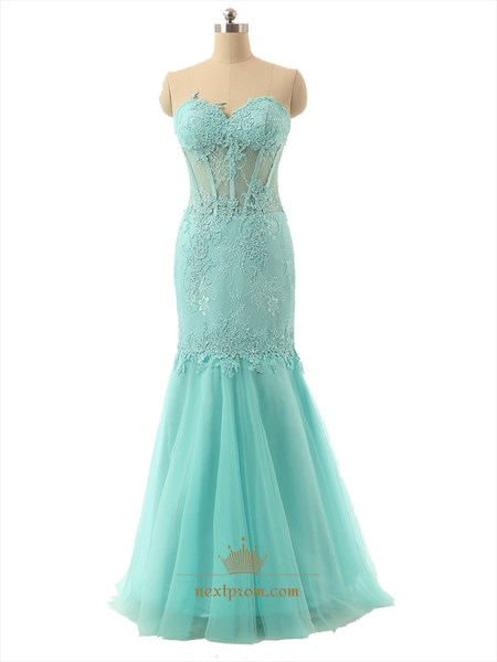 Tiffany Blue Strapless Lace Sweetheart Corset Bodice Tulle Mermaid Prom Dress