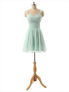 Light Green Chiffon Sweetheart Neckline Knee Length Bridesmaid Dress
