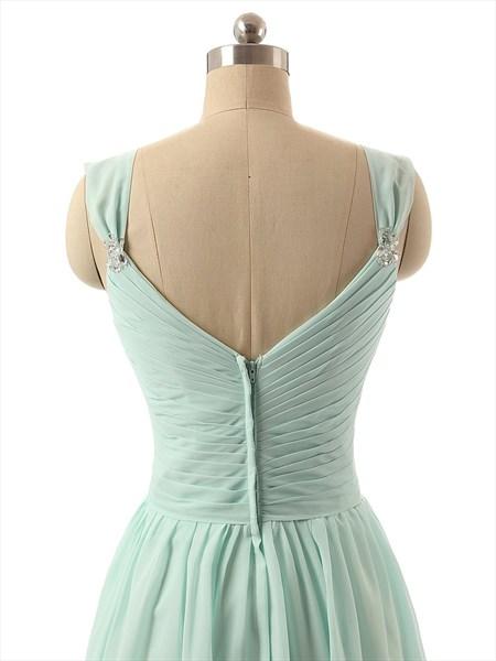 Light Green Chiffon Sweetheart Neckline Knee Length Bridesmaid Dress