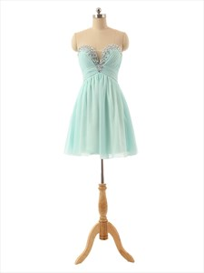 Light Green Chiffon Strapless Sheer Beaded Sweetheart Bridesmaid Dress