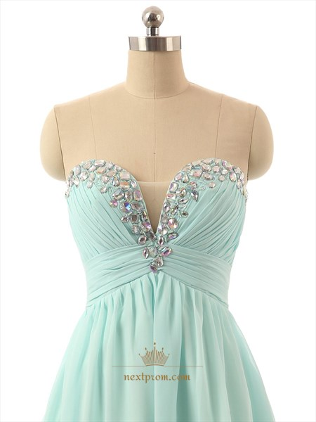 Light Green Chiffon Strapless Sheer Beaded Sweetheart Bridesmaid Dress