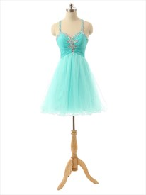 Tiffany Blue Chiffon Sweetheart Neckline Bridesmaid Dress With Open Back