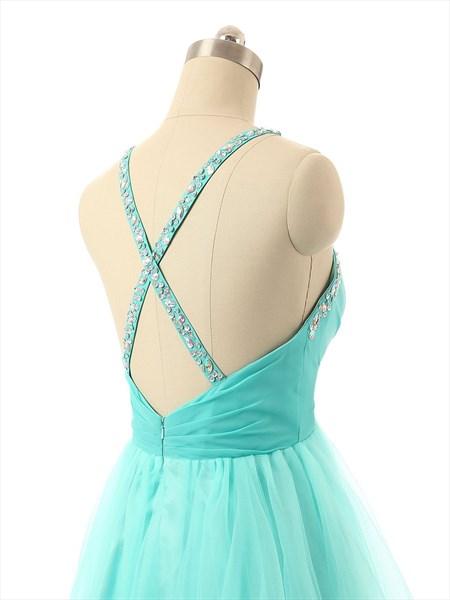 Tiffany Blue Chiffon Sweetheart Neckline Bridesmaid Dress With Open Back