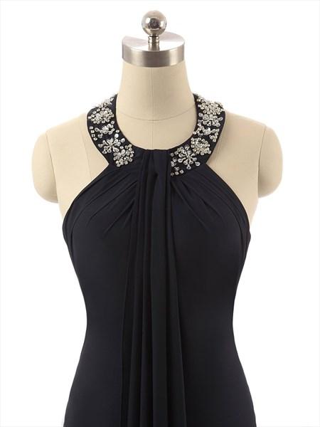 Black Jeweled Halter Neck Floor Length Chiffon Maxi Dress With Ruffles