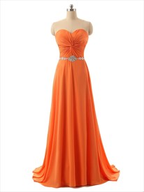 Orange Strapless Ruched Bodice Chiffon Floor Length Bridesmaid Dress