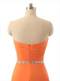 Orange Strapless Ruched Bodice Chiffon Floor Length Bridesmaid Dress