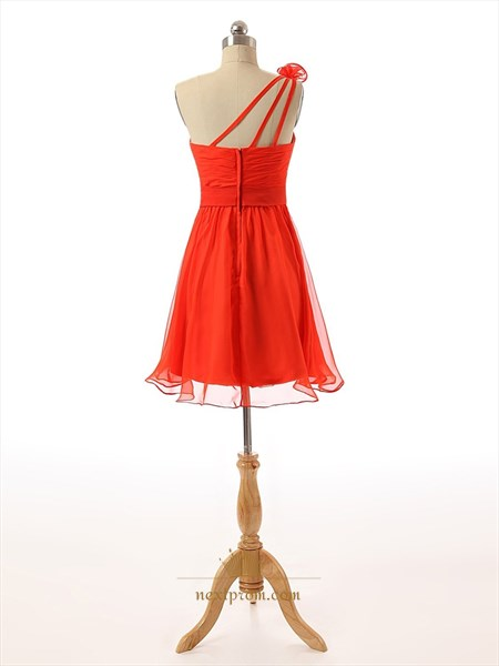 Red Chiffon Knee Length Ruched Bodice One Shoulder Bridesmaid With Roses