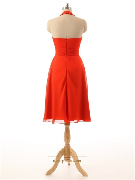 Red Halter Neck Chiffon Ruced Bodice Cocktail Dress With Side Drape