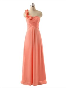 Coral Flower One Shoulder Ruched Bodice Chiffon Floor Length Bridesmaid Dress