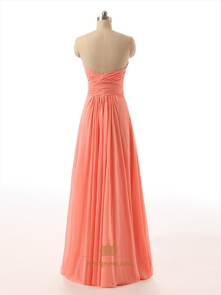 Coral Strapless Beaded Sweetheart Neckline Ruched Bodice Chiffon Dress