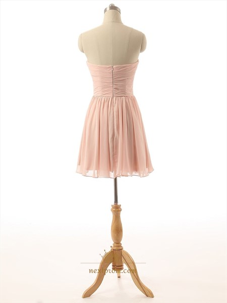Peach Knee Length Ruched Bodice A Line Chiffon Bridesmaid Dress