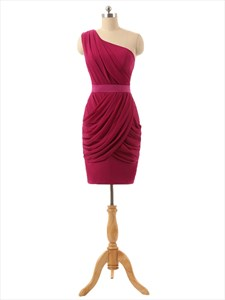 Burgundy Short One Shoulder Chiffon Ruched Bodice Cocktail Dress With Belt