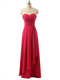 Red Long Strapless Chiffon Pleated Bodice Prom Dress With Side Drape