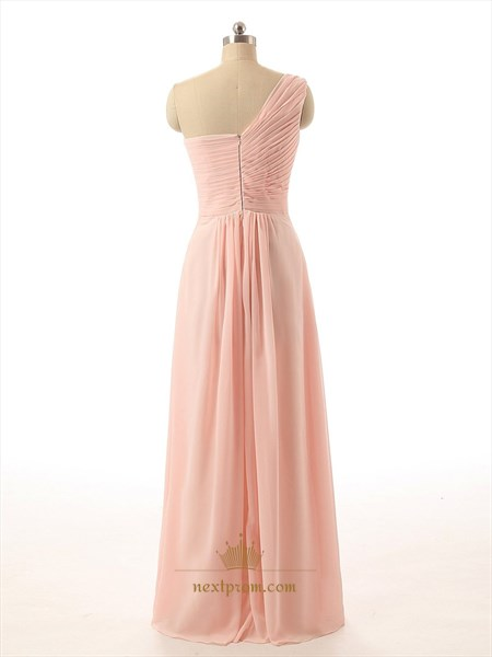Peach Chiffon Floor Length One Shoulder Ruched Bodice Bridesmaid Dress
