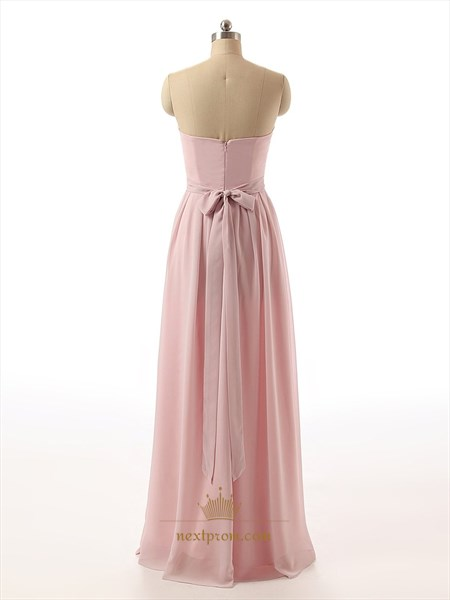 Pink Strapless Pleated Bodice Chiffon Full Length Bridesmaid Dress With Bow