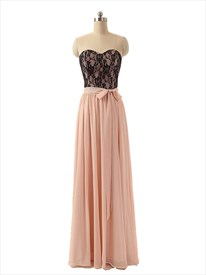 Strapless Black Lace Bodice Peach Chiffon A Line Prom Dress With Bow