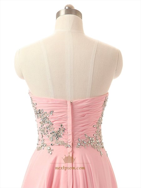 Pink Strapless Chiffon Beaded Bodice A-Line Floor Length Brideamaid Dress