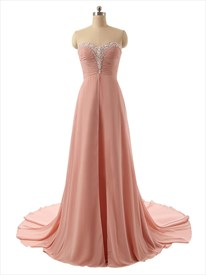 Ruddy Pink Chiffon Strapless Sweetheart Beaded Neckline Prom Dress