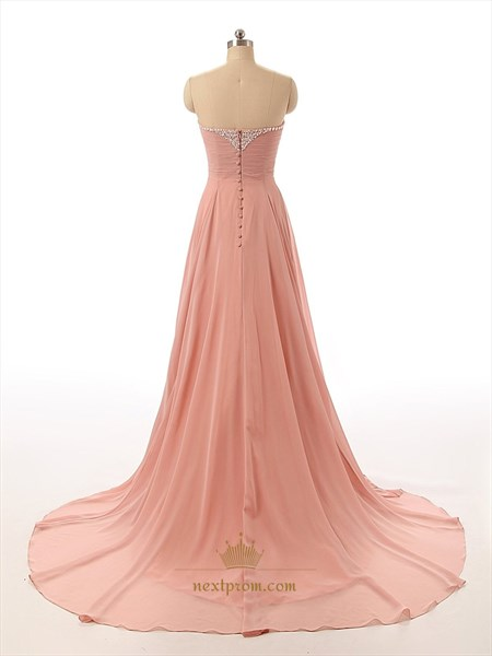 Ruddy Pink Chiffon Strapless Sweetheart Beaded Neckline Prom Dress