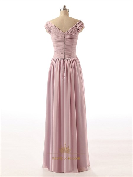 Pastel Pink Chiffon Criss Ruched Bodice Cap Sleeve Bridesmaid Dress