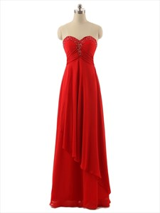 Red Strapless Beaded Sweetheart Empire Waist Crinkle Chiffon Dress With Cascade Skirt