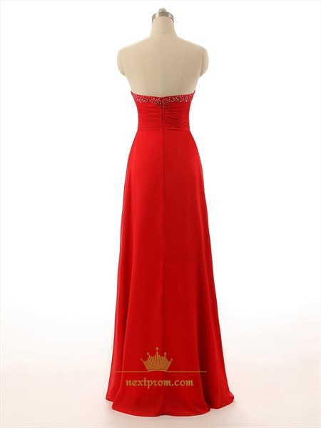 Red Strapless Beaded Sweetheart Empire Waist Crinkle Chiffon Dress With Cascade Skirt