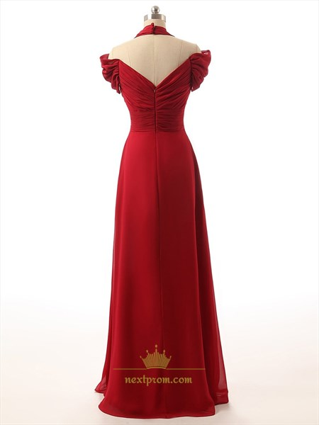 Red Sweetheart Halter Top Ruched Bodice Cap Sleeve Off The Shoulder Prom Dress