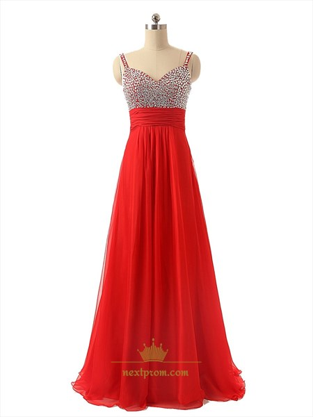 Red Beaded Bodice Sweetheart A-Line Long Chiffon Dress With Spaghetti Straps