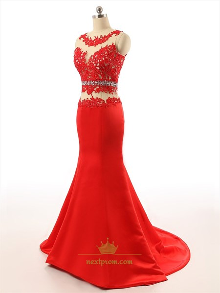 Red Sleeveless Sheer Applique Bodice Tulle Mermaid Prom Dress With Train
