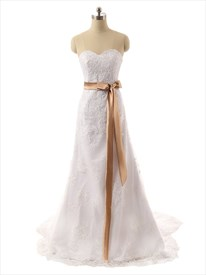 White Strapless Sweetheart Floral Applique Wedding Dress With Ribbon Belt