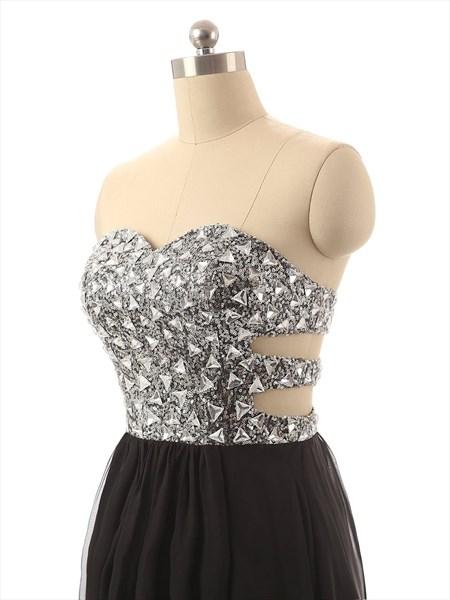 Black Strapless Sequin Bodice Sheer Waist Sheath Chiffon Prom Dress