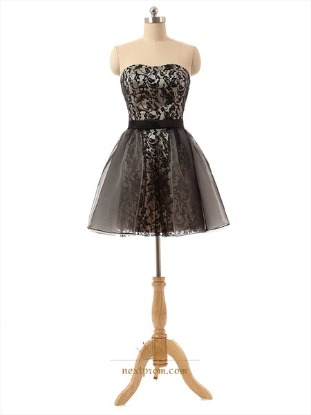 Short A-Line Strapless Black Lace Cocktail Dress With Tulle Skirt