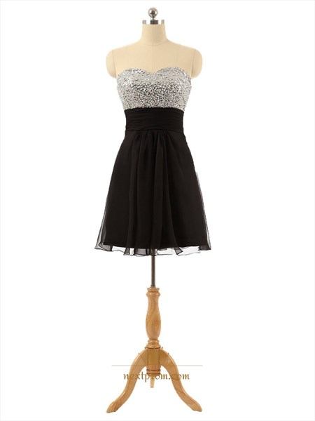 Short Strapless Sequin Bodice Black Chiffon Dress With Open Back