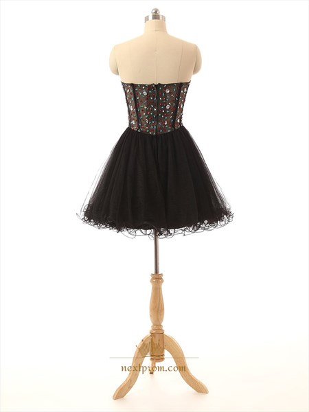 Black Beaded Bodice Illusion Corset Bodice Short Prom Dress