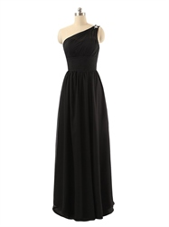 Black Beaded One Shoulder Full Length Ruched Bodice Chiffon Prom Dress