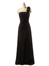 Black Flower One Shoulder Crinkled Chiffon Full Length Prom Dress