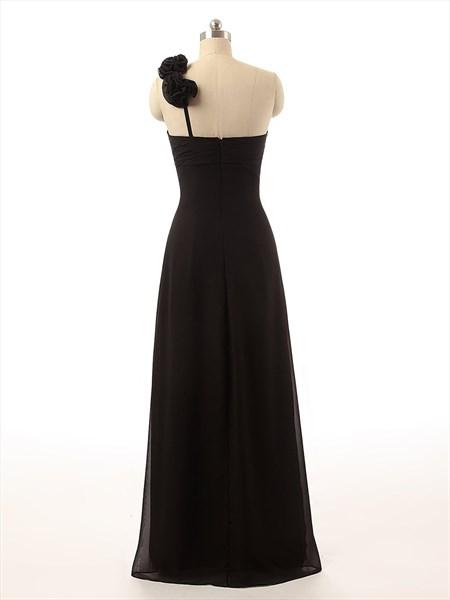Black Flower One Shoulder Crinkled Chiffon Full Length Prom Dress