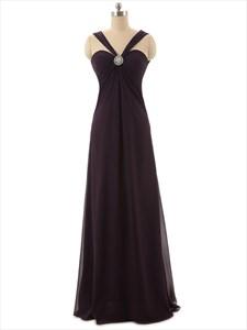 Dark Purple Sweetheart Neckline Brush Train Chiffon Prom Dress With Straps