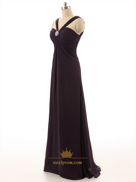 Dark Purple Sweetheart Neckline Brush Train Chiffon Prom Dress With Straps