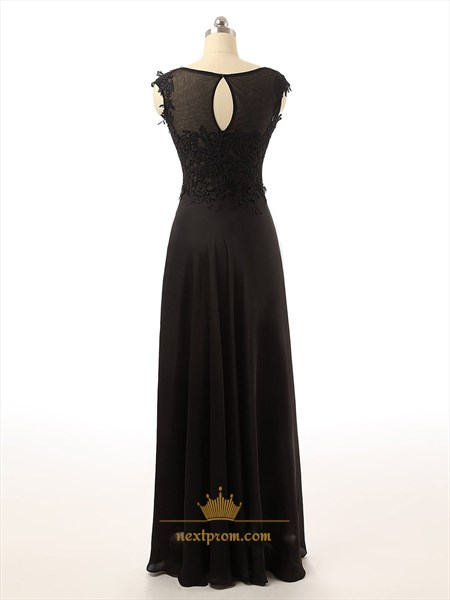 Black Sheer Bateau Neckline Applique Bodice Chiffon Dress With Keyhole Back