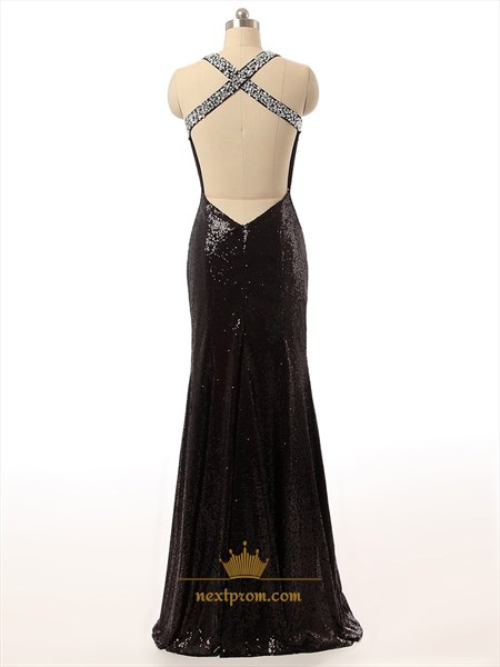 Black Sequin V-Neck Beaded Straps Bodycon Mermaid Prom Dress With Open Back
